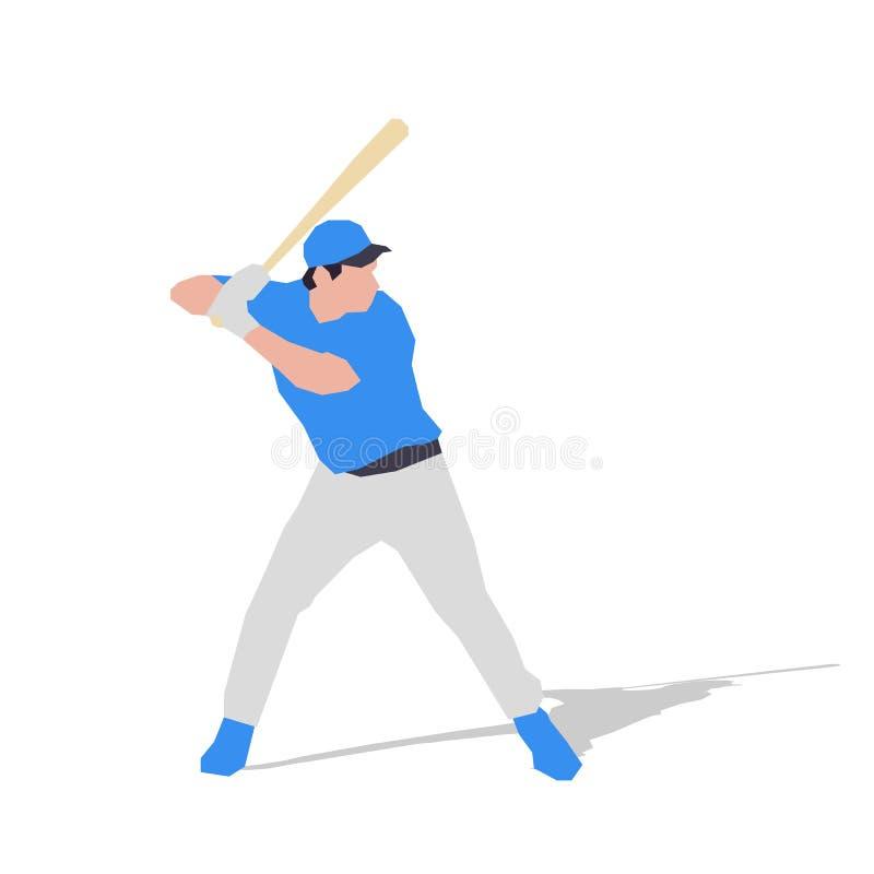 Jogador de beisebol no jérsei azul, projeto liso ilustração stock