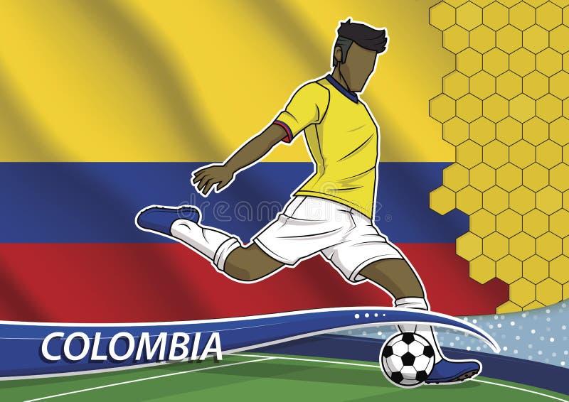Jogador de equipa do futebol em Colômbia uniforme ilustração stock
