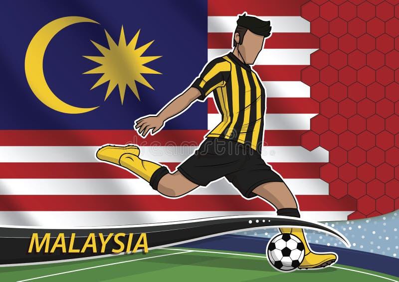 Jogador de equipa do futebol no uniforme com a bandeira nacional do estado dos malays ilustração do vetor