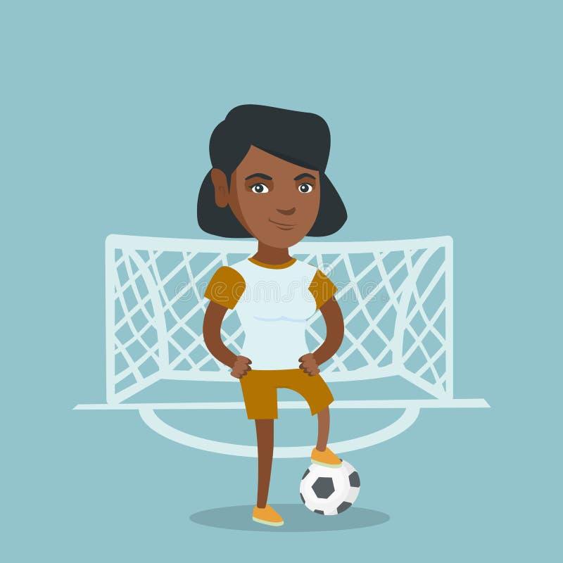 Jogador de futebol afro-americano novo com bola ilustração stock