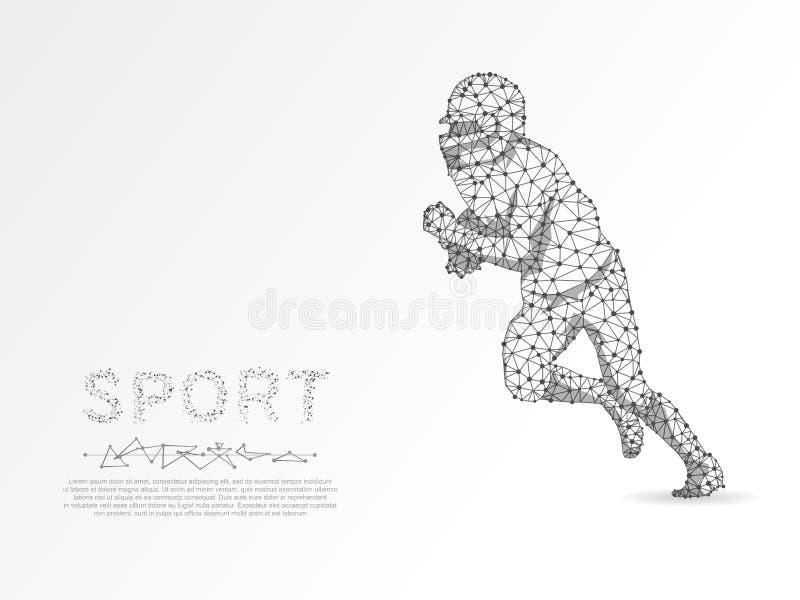 Jogador de futebol americano de corrida com a bola, triângulos, vetor baixo-poli de conexão do wireframe da rede 3d do ponto ilustração do vetor