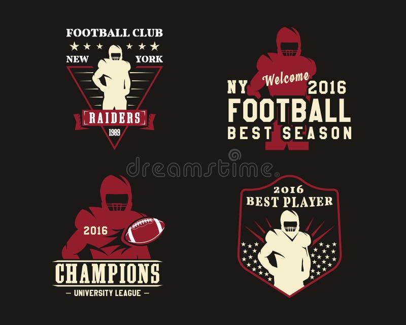 Jogador de futebol americano, crachás da equipe, logotipos ilustração royalty free