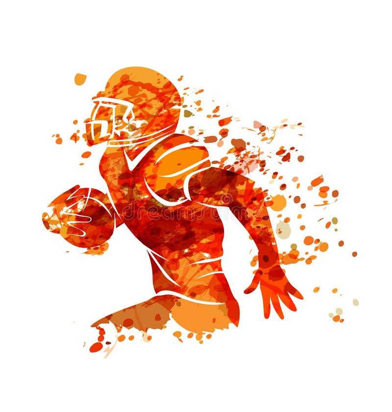 Jogador de futebol americano da silhueta da aquarela ilustração do vetor