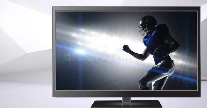 Jogador de futebol americano na televisão fotos de stock royalty free