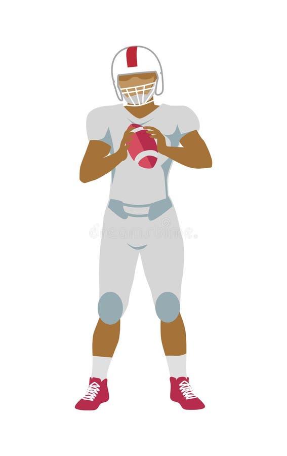 Jogador de futebol americano no equipamento com bola ilustração royalty free