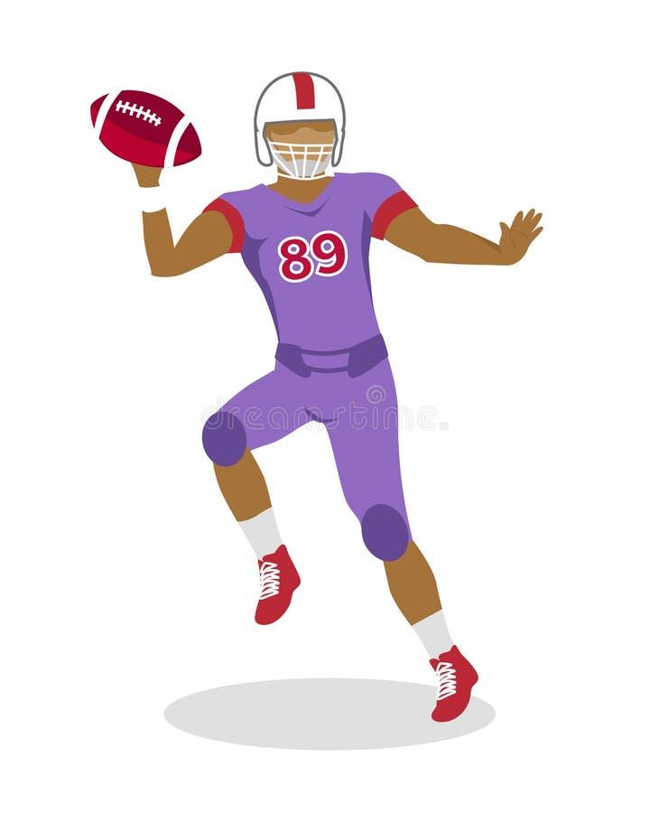 Jogador de futebol americano no salto com bola ilustração royalty free