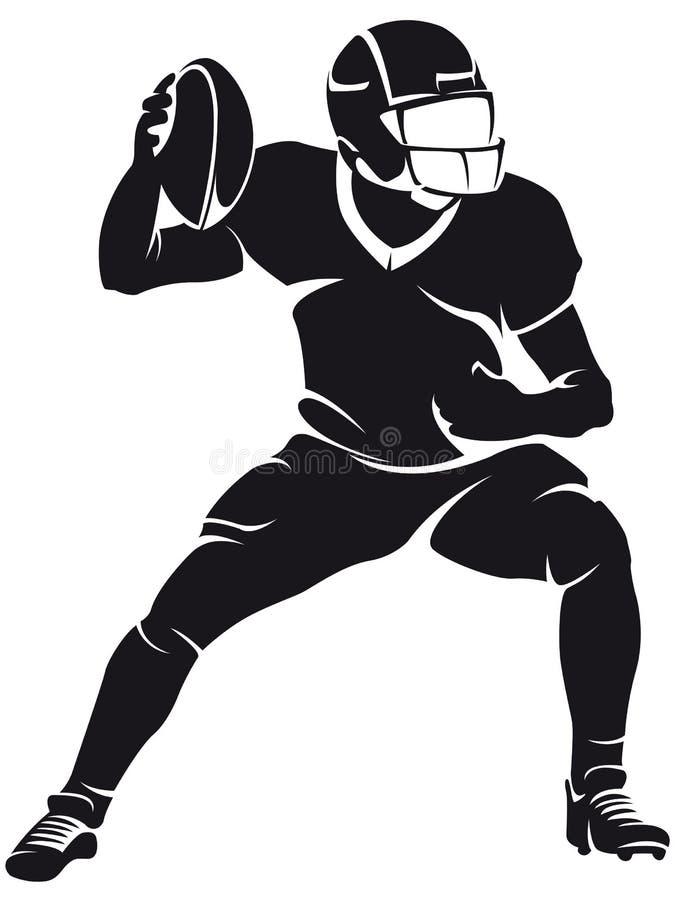 Jogador de futebol americano, silhueta ilustração royalty free