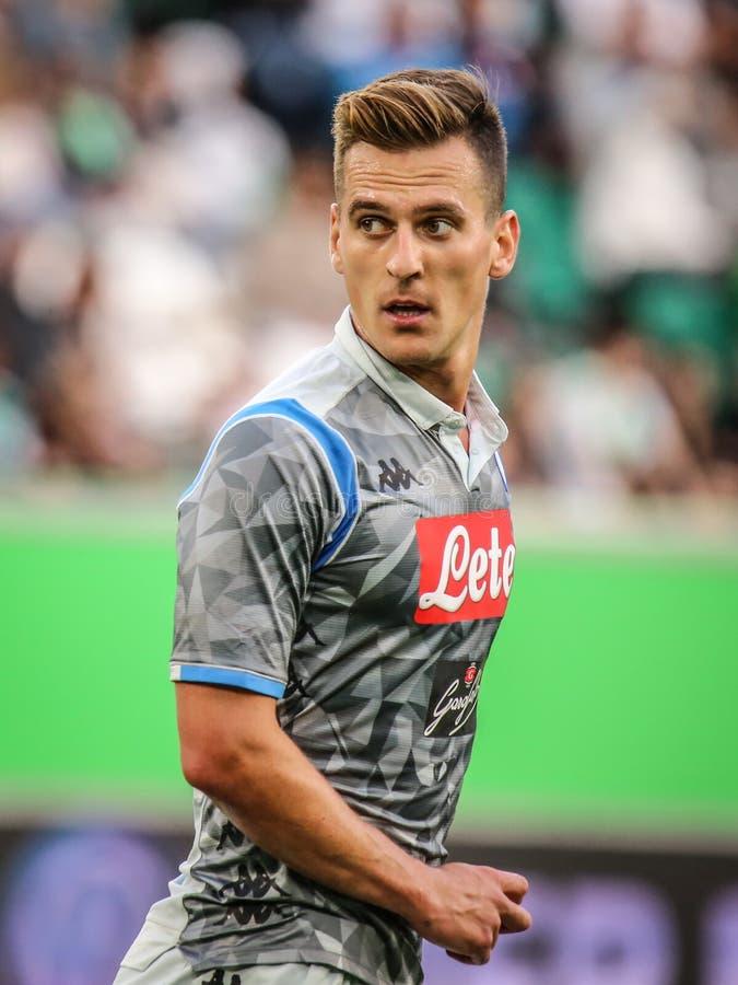 Jogador de futebol Arkadiusz Milik de SSC Nápoles fotos de stock