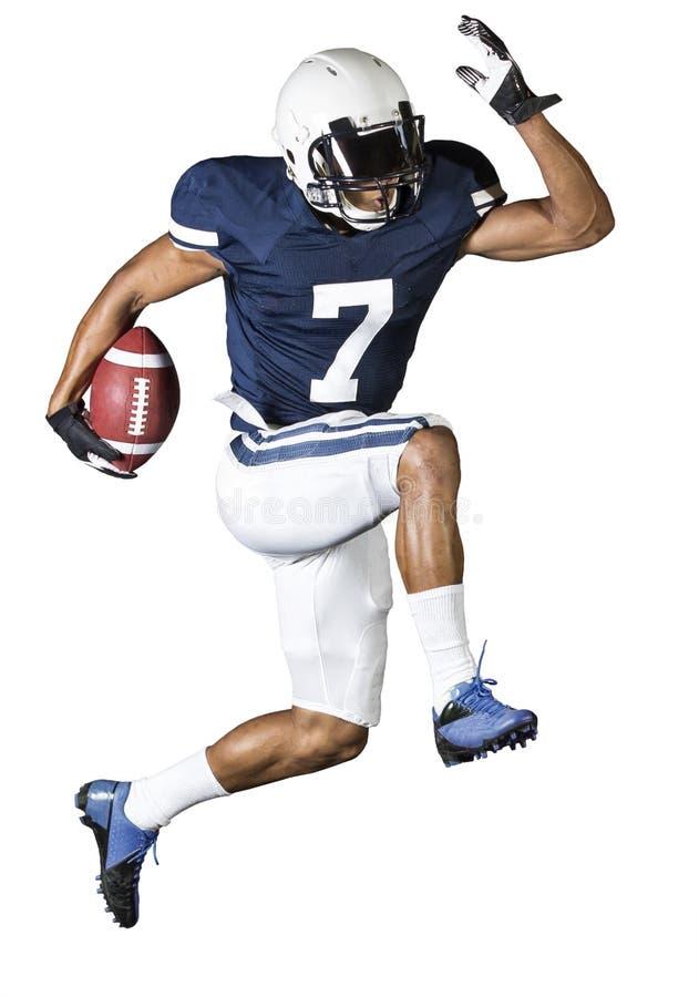 Jogador de futebol atlético isolado no branco fotografia de stock