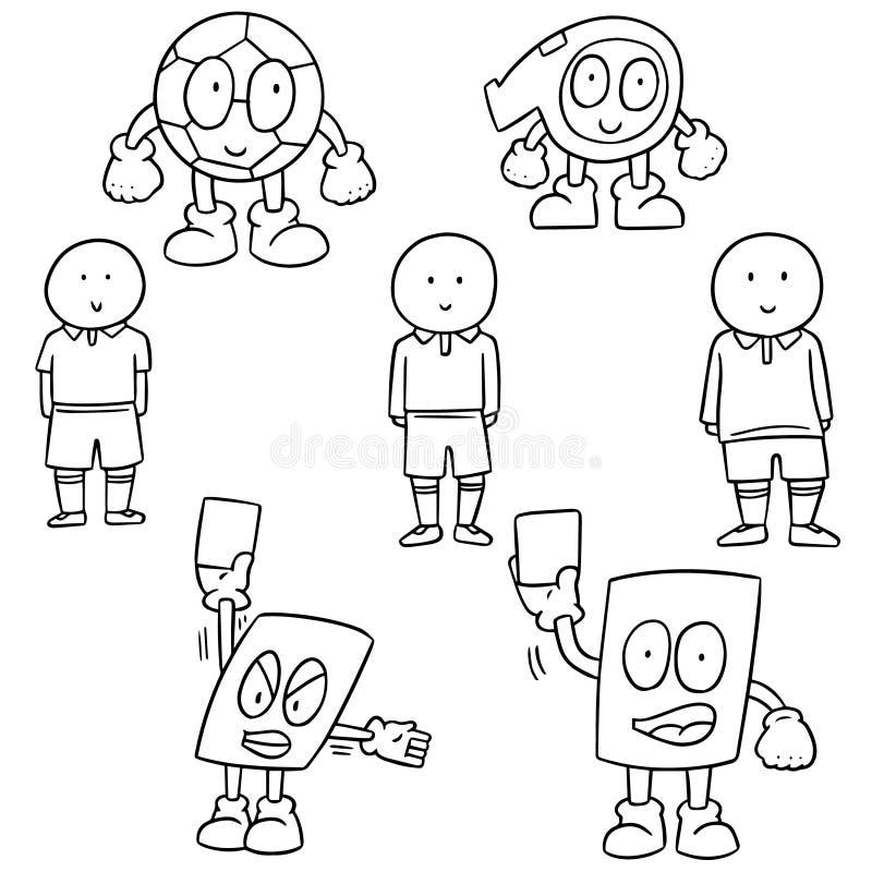 Jogador de futebol, bola, assobio e desenhos animados do cartão ilustração do vetor