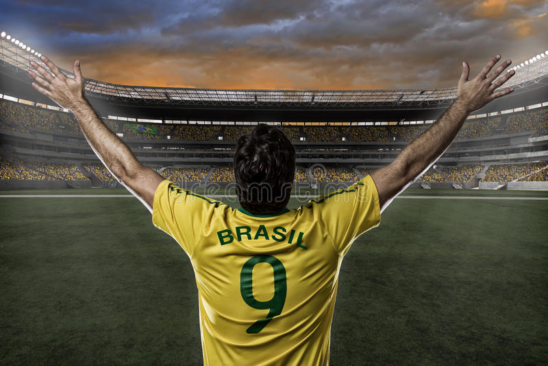 Jogador de futebol brasileiro foto de stock royalty free