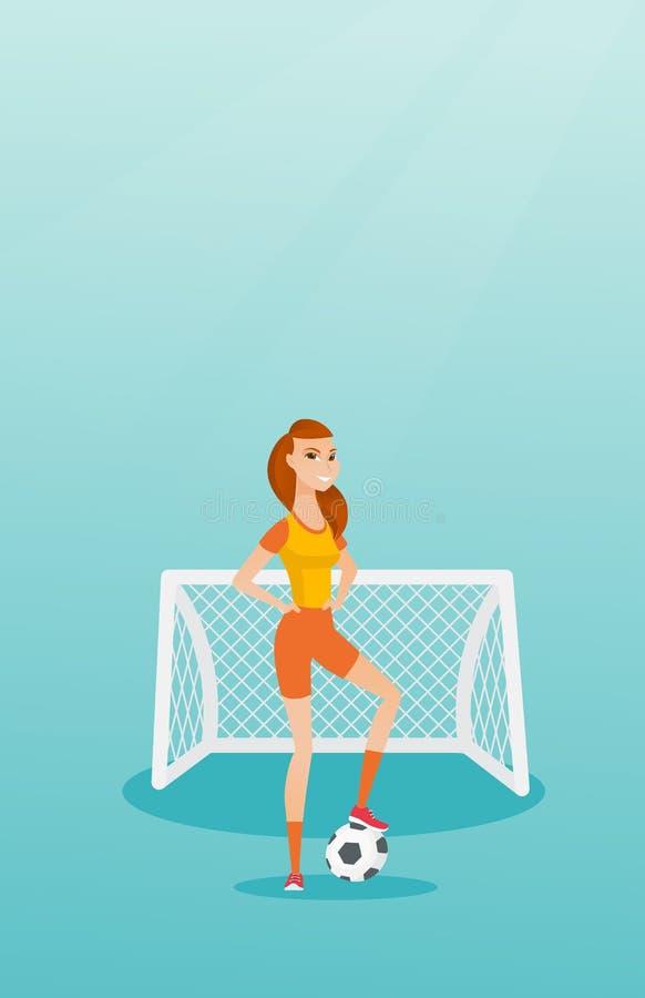 Jogador de futebol caucasiano novo com uma bola ilustração stock