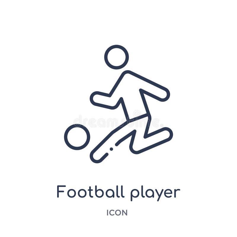 jogador de futebol com ícone da bola da coleção do esboço dos esportes Linha fina jogador de futebol com o ícone da bola isolado  ilustração royalty free