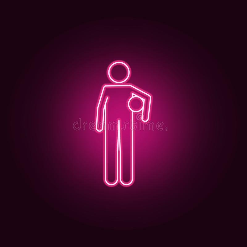 jogador de futebol com a bola em seu ícone de néon das mãos Elementos do grupo do campeonato 2018 ?cone simples para Web site, de ilustração stock