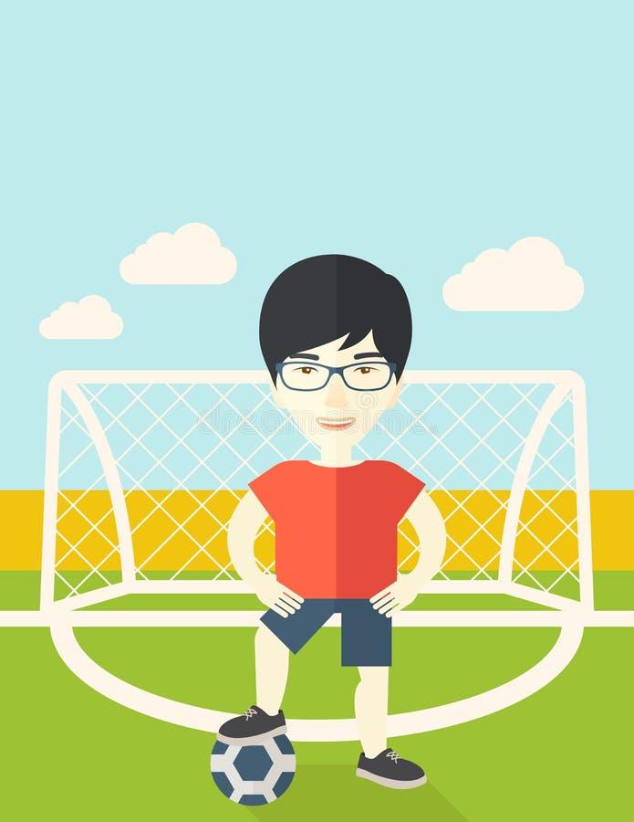 Jogador de futebol com esfera ilustração do vetor