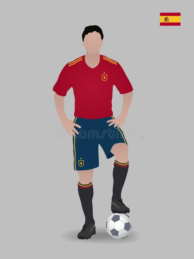 Jogador de futebol com esfera Equipa de futebol do nacional da Espanha Ilustração do vetor imagens de stock royalty free