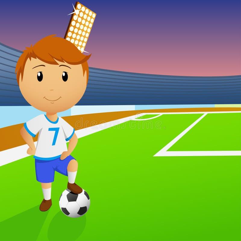Jogador de futebol com a esfera no estádio ilustração stock