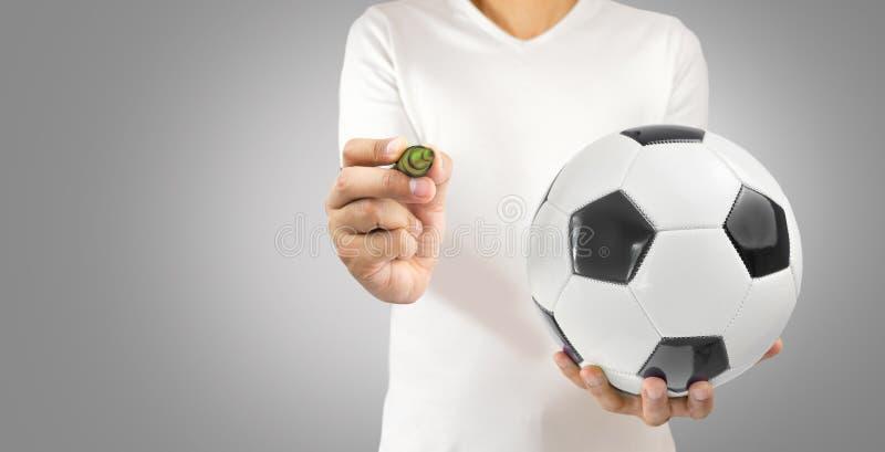 Jogador de futebol com ideias imagem de stock