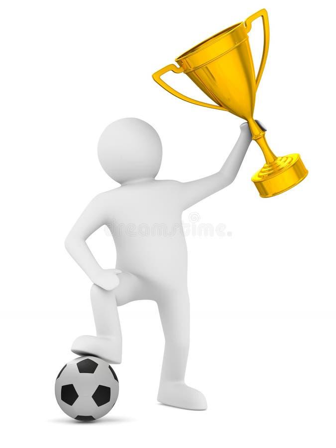 Jogador de futebol com o copo da bola e do troféu Ilustração 3d isolada ilustração royalty free