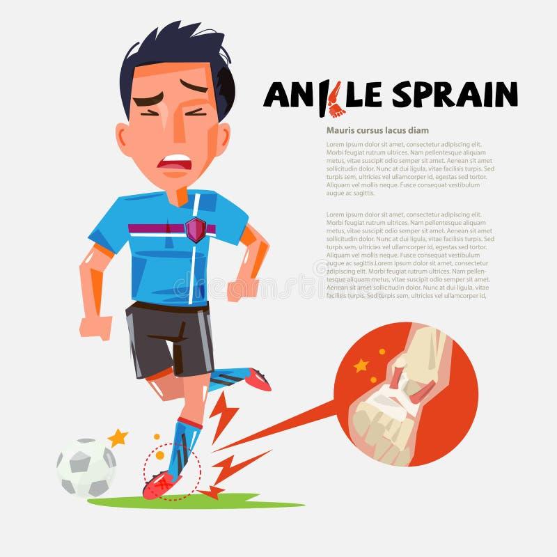 Jogador de futebol com tornozelo torcido Projeto de caráter ferimento durante o exercício ilustração do vetor