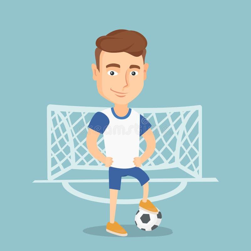Jogador de futebol com uma ilustração do vetor da bola ilustração royalty free