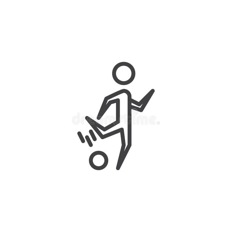 Jogador de futebol com uma linha ícone da bola ilustração do vetor