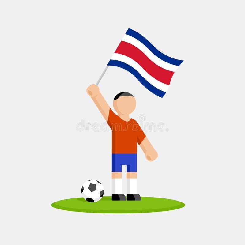 Jogador de futebol de Costa-Rica no jogo com bandeira e bola ilustração royalty free