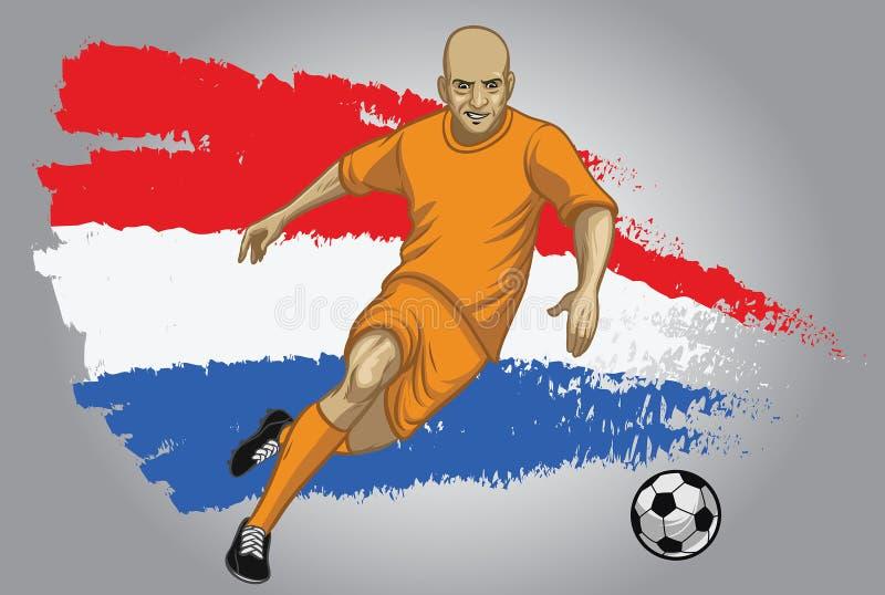 Jogador de futebol da Holanda com fundo da bandeira ilustração do vetor