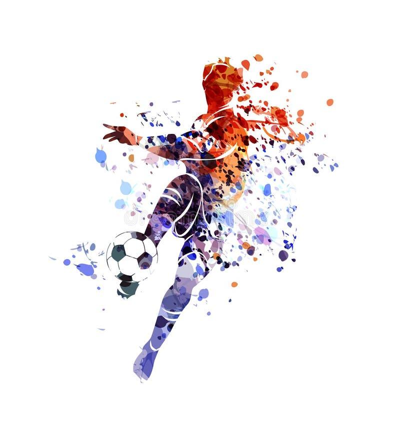 Jogador de futebol da silhueta da aquarela ilustração royalty free