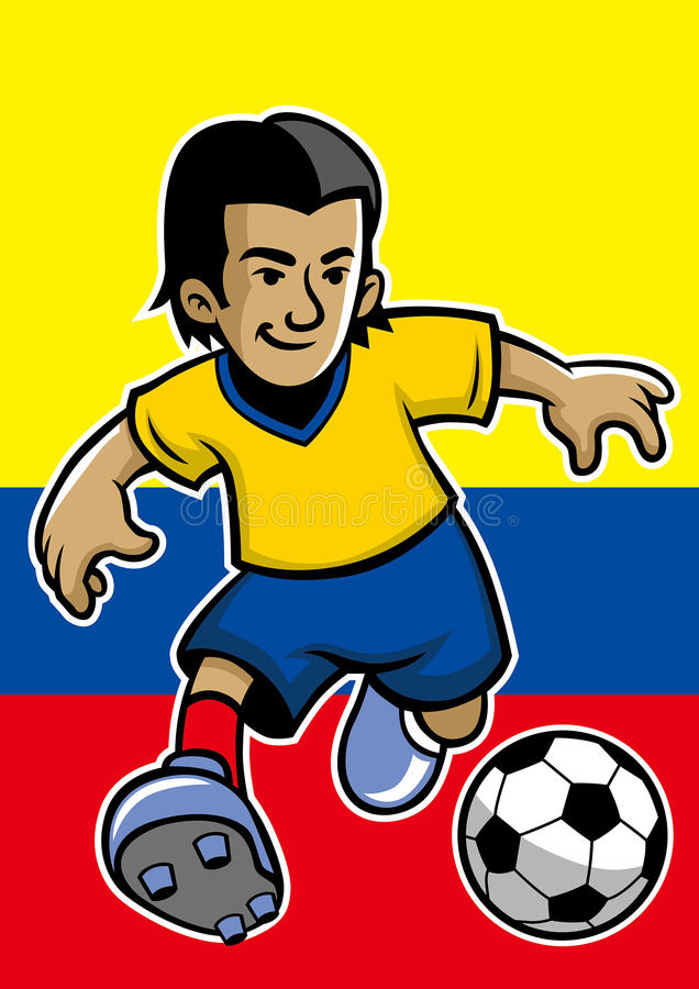 Jogador de futebol de Colômbia com fundo da bandeira ilustração royalty free