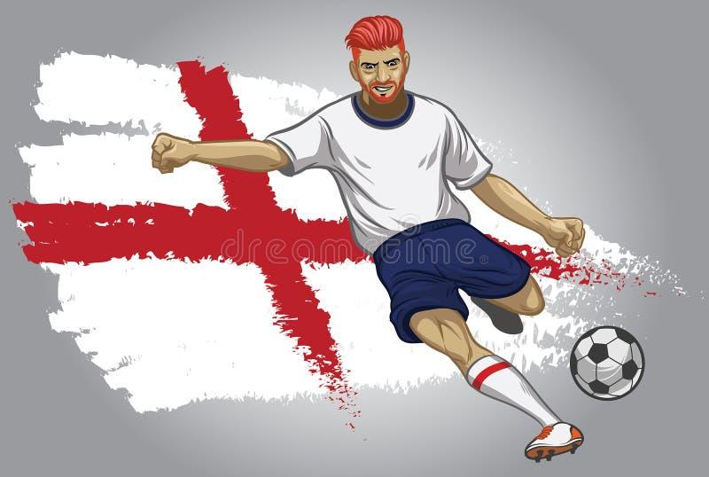 Jogador de futebol de Inglaterra com bandeira como um fundo ilustração do vetor