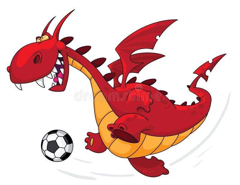 Jogador de futebol do dragão ilustração stock
