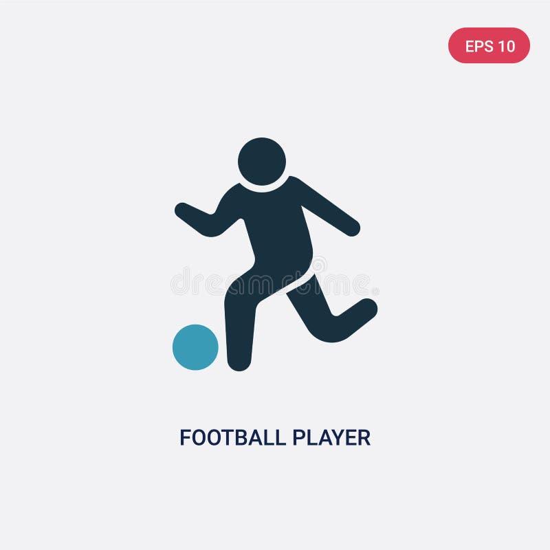 Jogador de futebol de duas cores que joga o ícone do vetor do conceito recreacional dos jogos jogador de futebol azul isolado que ilustração royalty free