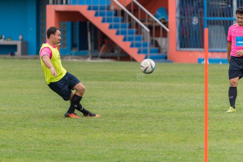 Jogador de futebol em um jogo no estádio de futebol imagem de stock royalty free