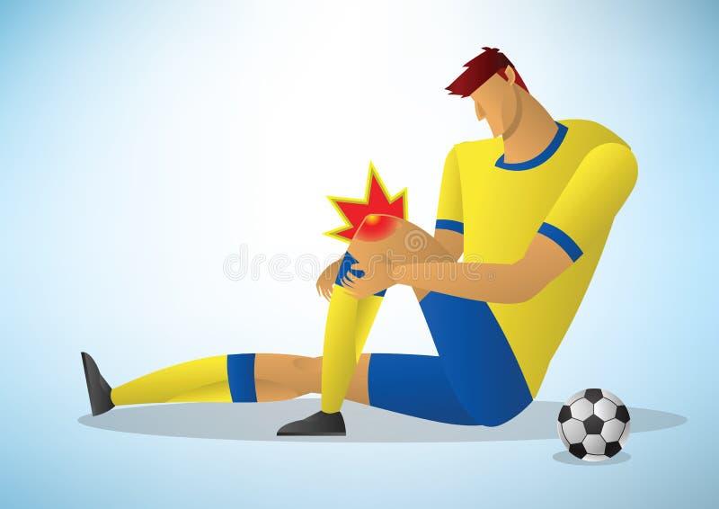 Jogador de futebol ferido no joelho ilustração royalty free