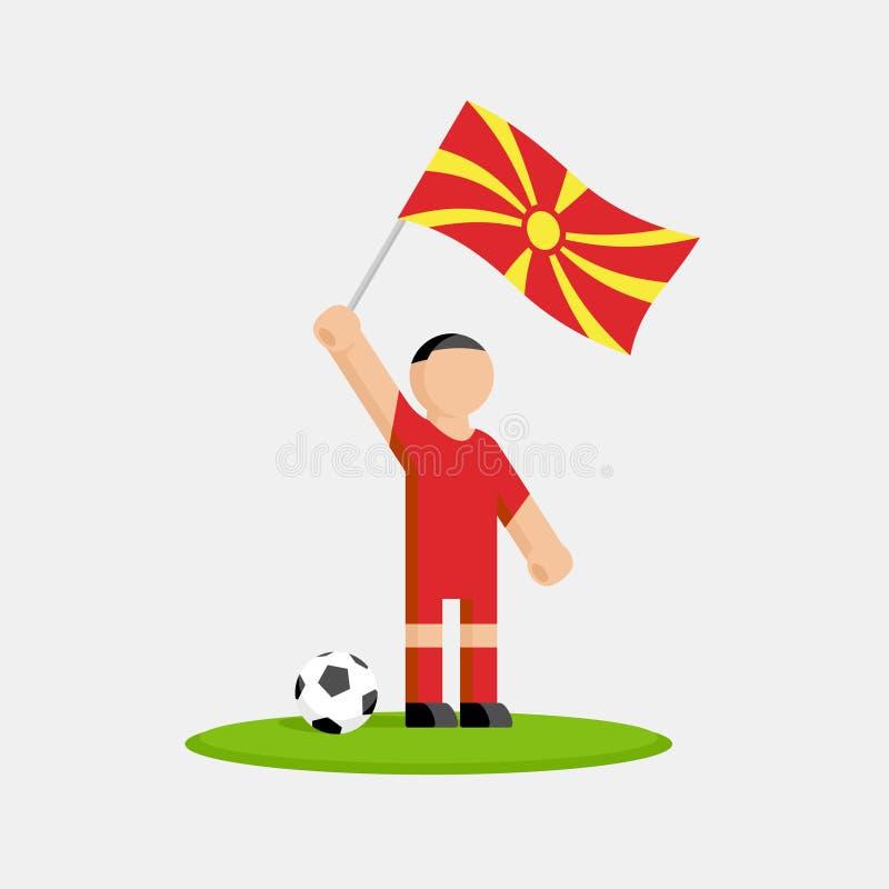 Jogador de futebol de Maced?nia no jogo com bandeira e bola ilustração royalty free