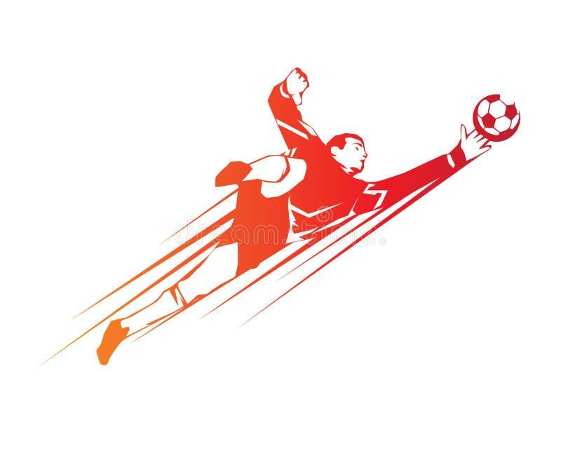 Jogador de futebol moderno no logotipo da ação - economias pelo goleiros ilustração do vetor