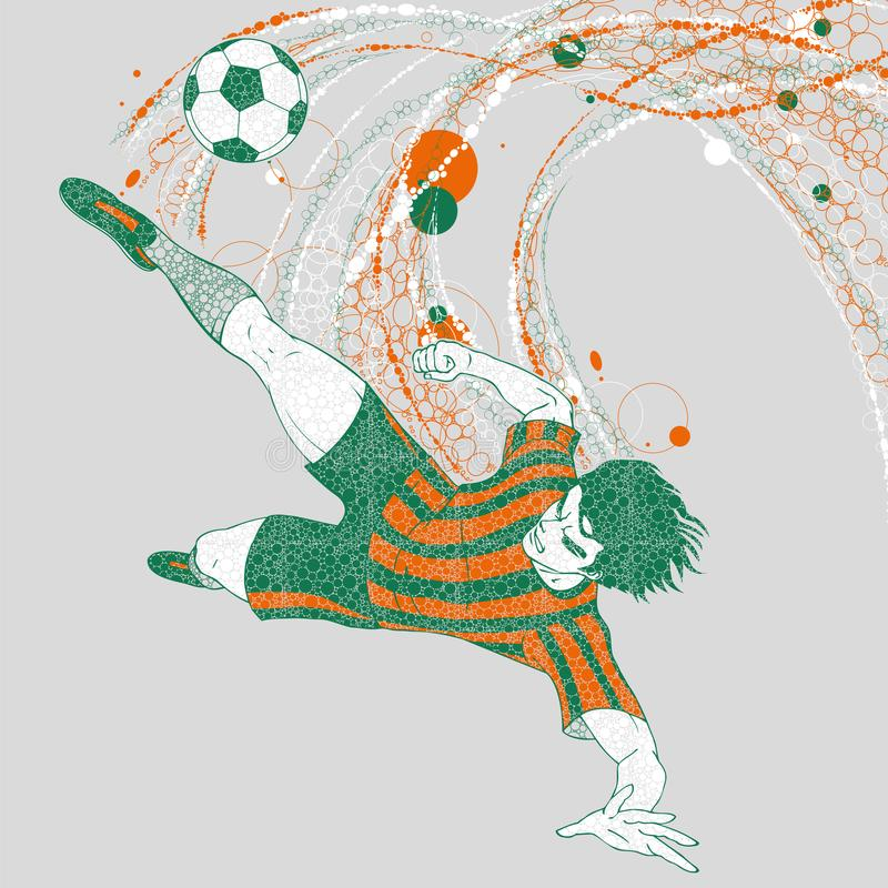 Jogador de futebol na ação, disparando no objetivo, com fugas gráficas ilustração stock