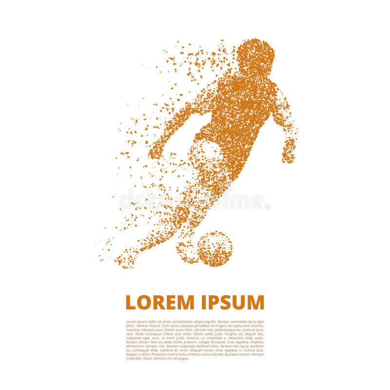 Jogador de futebol na dinâmica em partículas pequenas ilustração royalty free