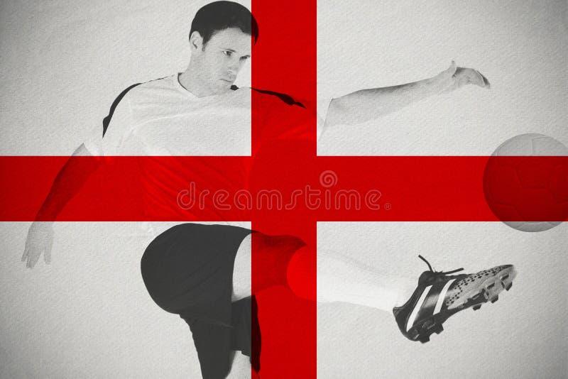 Jogador de futebol no retrocesso branco foto de stock