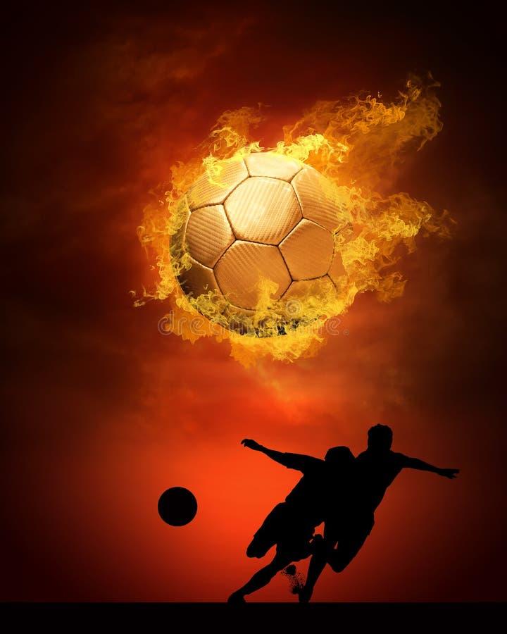 Jogador de futebol nos incêndios foto de stock