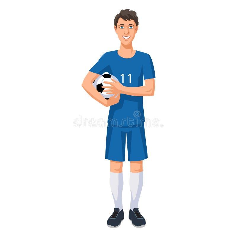 Jogador de futebol novo com uma bola ilustração stock