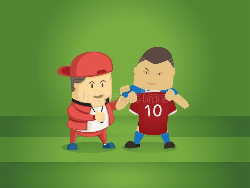 Jogador de futebol novo de transferência do treinador com grande negócio ilustração do vetor