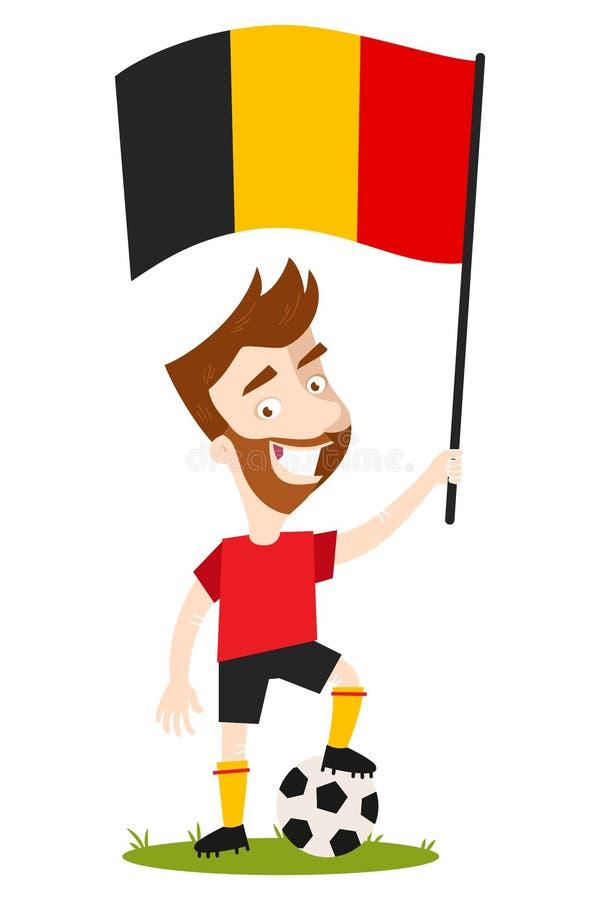 Jogador de futebol para Bélgica, homem dos desenhos animados que guarda a bandeira belga que veste a camisa vermelha e o short pr ilustração do vetor