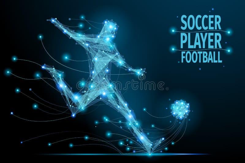 Jogador de futebol poligonal ilustração do vetor