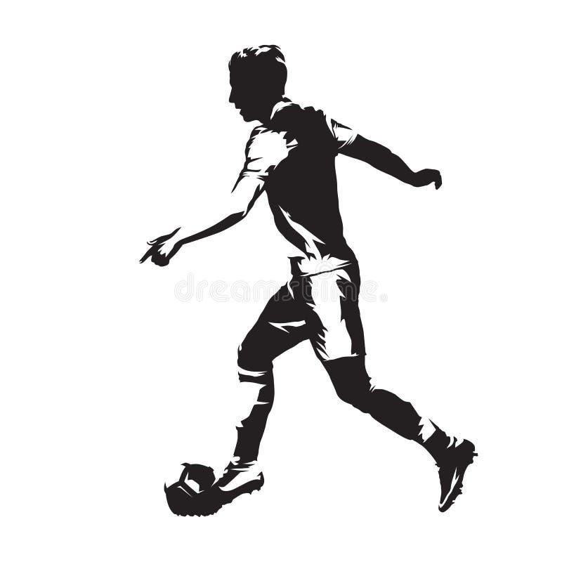 Jogador de futebol que corre com bola Jogador de futebol VE isolada sumário ilustração royalty free