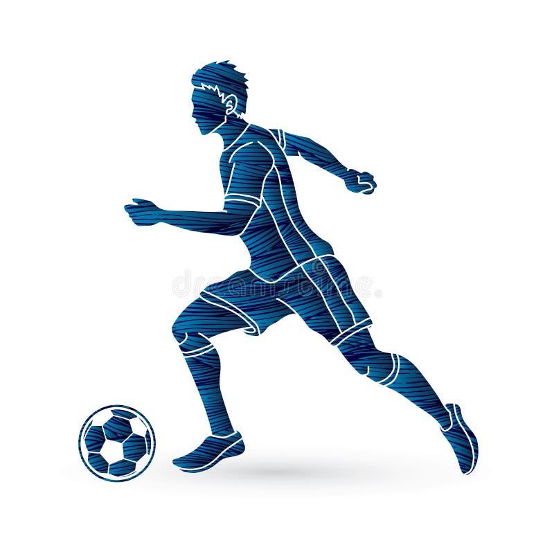 Jogador de futebol que corre com vetor do gráfico da ação da bola de futebol ilustração do vetor