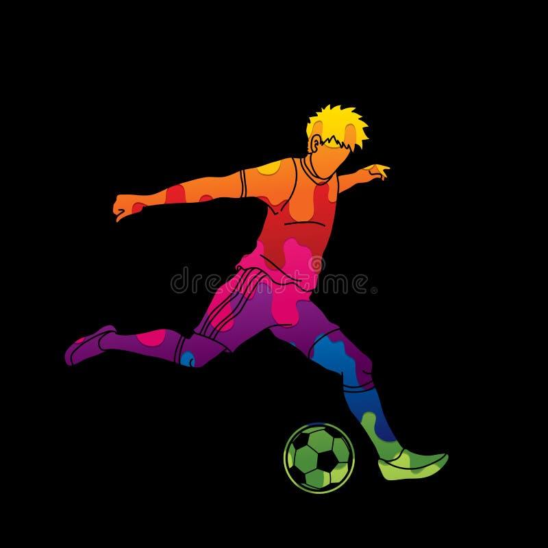 Jogador de futebol que corre e que retrocede um vetor do gráfico da ação da bola ilustração stock