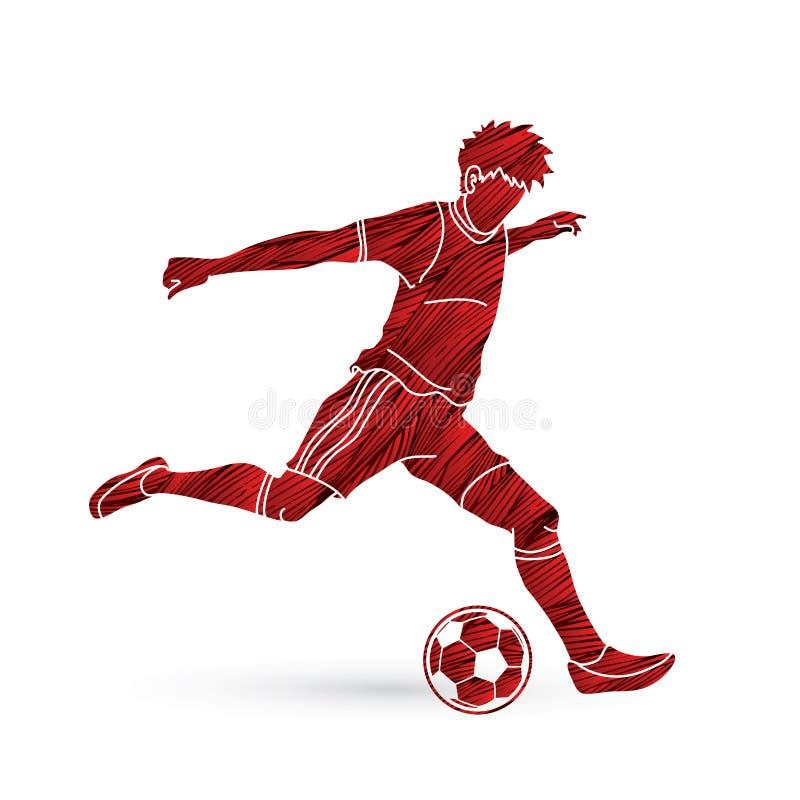 Jogador de futebol que corre e que retrocede um vetor do gráfico da ação da bola ilustração royalty free