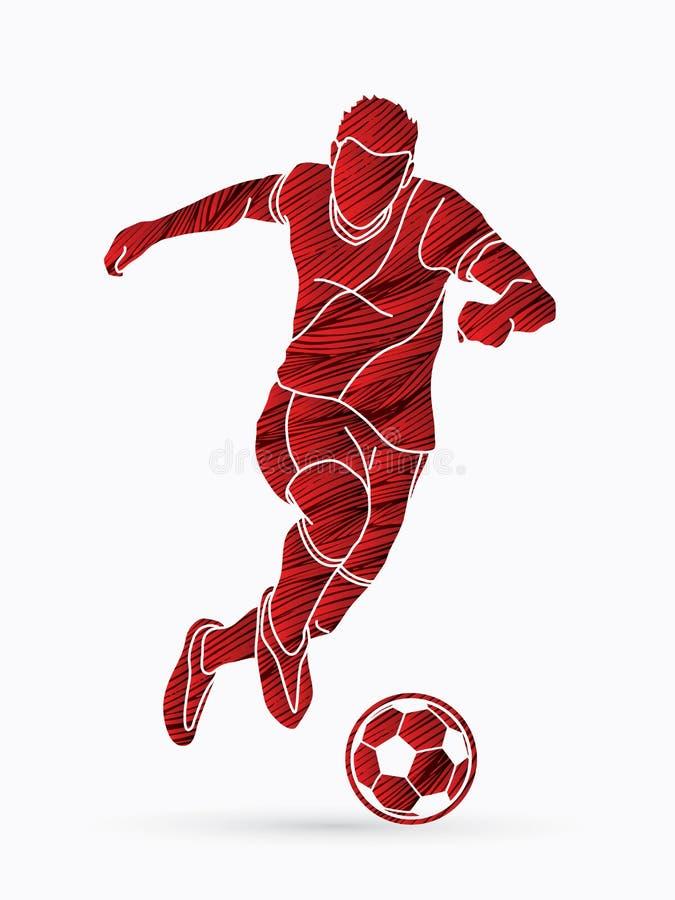 Jogador de futebol que dispara em uma bola ilustração stock
